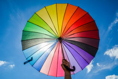 Colorful umbrella on the sky Stock Images