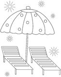 Umbrella coloring page Royalty Free Stock Photography
