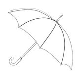 Umbrella coloring, vector sketch. Black and white open umbrella, isolated on white background Stock Image
