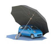 Umbrella covering blue car Royalty Free Stock Photos