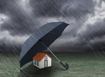Free Umbrella Covering Home Under Heavy Rain Stock Image - 78909401