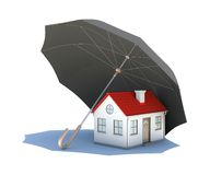 Umbrella covering the house. Isolated on white background Royalty Free Stock Photo