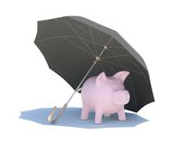 Umbrella covering the pink piggy bank Stock Images