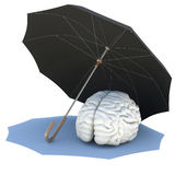 Umbrella covers the brain. Isolated render on a white background Stock Photos