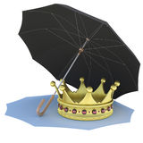 Umbrella covers the gold crown. Isolated render on a white background Stock Image