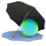 Umbrella covers the planet. Isolated render on a white background Royalty Free Stock Image