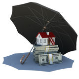 Umbrella covers small house and money Stock Photography