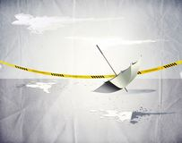Umbrella and the crime scene Stock Photos