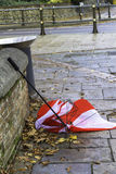 Umbrella damaged by wind Stock Photos