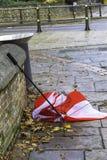 Umbrella damaged by wind Stock Photos