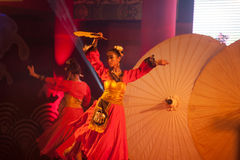 Umbrella dancing in Chinese New Year. Stock Images