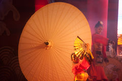 Umbrella dancing in Chinese New Year. Stock Image