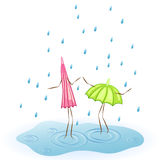 Umbrella dancing in the rain. Two umbrellas. Dance in the rain. Vector illustration Stock Image