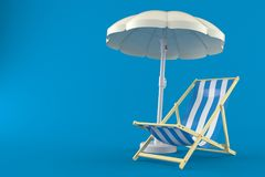 Umbrella with deck chair. On blue background Royalty Free Stock Photo