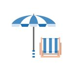 Umbrella and deck chair Stock Photo