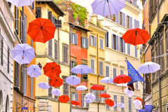 Umbrella decoration in trastevere with europe flag Stock Photo