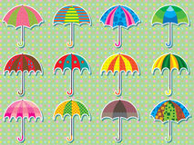 Umbrella Design Set Sticker Stock Photography