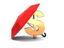 Umbrella and dollar sign Stock Image