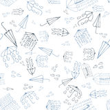 Umbrella doodle seamless pattern, weather collection. Vector ill Royalty Free Stock Photos