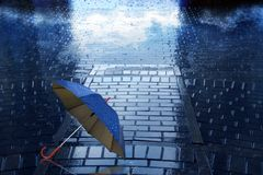 Umbrella with drop in rain and expensive. Umbrella with drop in rain, expensive and sky royalty free stock image