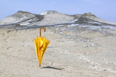 Umbrella and dry land - RAW format Royalty Free Stock Image