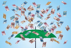 Umbrella and euro bills 3D Royalty Free Stock Photos