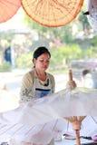 Umbrella Factory. Umbrella making Factory BorSang,Sankhampaeng, Chiang Mai,Thailand Royalty Free Stock Photo