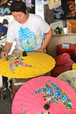 Umbrella Factory. Umbrella making Factory BorSang,Sankhampaeng, Chiang Mai,Thailand Stock Photo