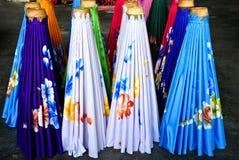 Umbrella factory. Colorful umbrella displayed in a line,umbrella making Factory BorSang,Sankhampaeng, Chiang Mai,Thailand Stock Photo