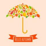 Umbrella from fall leaves. vector illustration