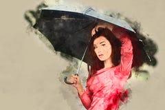 Umbrella, Fashion Accessory, Black Hair, Girl Royalty Free Stock Image