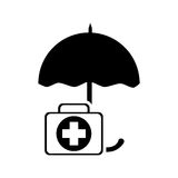 Umbrella and first aid kit  icon. Flat design umbrella and first aid kit  icon vector illustration Stock Image
