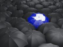 Umbrella with flag of antarctica. Over black umbrellas vector illustration