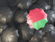 Umbrella with flag of belarus. On top of black umbrellas. 3D illustration Stock Photography