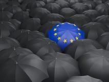 Umbrella with flag of european union Stock Image