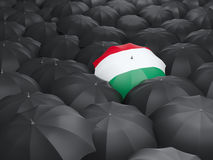Umbrella with flag of hungary Stock Photo