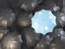 Umbrella with flag of micronesia. On top of black umbrellas. 3D illustration Royalty Free Stock Photography