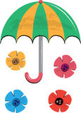 Umbrella and Flowers Children's Illustration Stock Photo