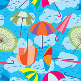 Umbrella Fly Sky Seamless Pattern Stock Photos