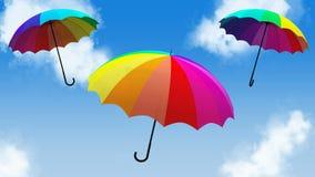 Umbrella flying animation 3d illustration render