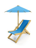 umbrella and folding chair Royalty Free Stock Photo