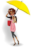 Umbrella girl. Trendy woman holding an umbrella and carrying a dog Stock Photo