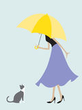 Umbrella Girl Meets a Cat. Illustration of a girl under the umbrella stops to say hello to a cat that she meets on the way Stock Images