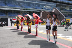 Umbrella Girl at Monza 2013 WSBK Royalty Free Stock Images