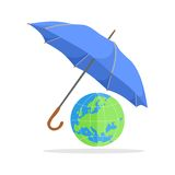 Umbrella and globe Royalty Free Stock Photos