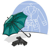 Umbrella and gloves Royalty Free Stock Photos