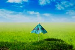 Sunshade on the green fantasy meadow. Umbrella on the green fantasy landscape Royalty Free Stock Image