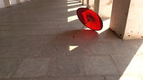 An umbrella at the hall of temple in Bagan, Myanmar.  stock video