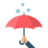 Umbrella in hand defending from the snow Royalty Free Stock Photography