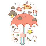 Umbrella in hand with rain. Royalty Free Stock Image